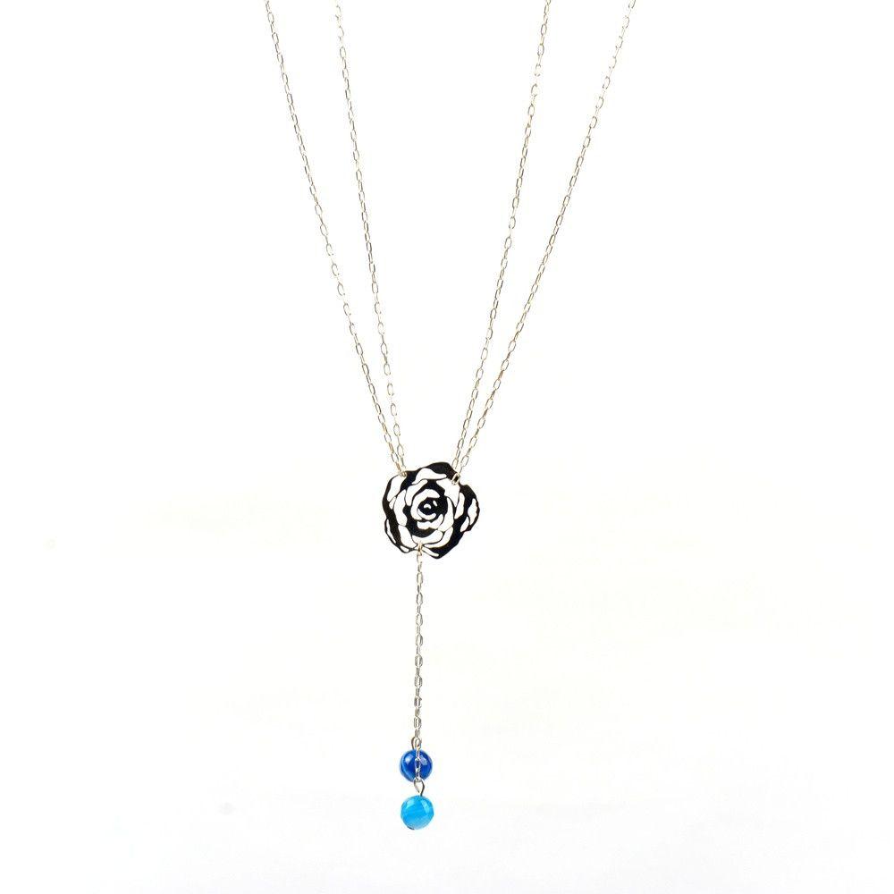 En Mm Bleu 6 Rose Et Argent Pierres Agate Naturelles Onyx Collier 0wP8Okn